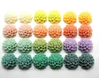 24 pcs Resin Flower Cabochons - 15mm Dahlia - Hope Springs Eternal Assorted Mix - Matte