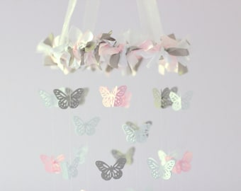 Butterfly Mobile- Light Pink, Gray & White- Nursery Decor, Baby Shower Gift, Nursery Mobile