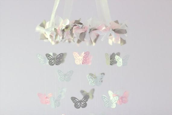 Butterfly Mobile- Light Pink, Gray & White- Nursery Decor, Baby Shower Gift, Nursery Mobile