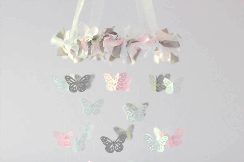 Butterfly Mobile Light Pink Gray White Nursery Decor - Light pink nursery decor