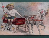 Vintage Postcard of Young Boy on Toy Horse and Cart - early 20th Century. Pub. Woolstone Bros. London, England (10)