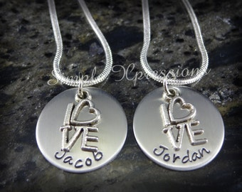 Matching Sister Necklaces with Kids Names