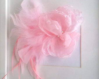 Light Pink Bridal Flower Feather Fascinator Hair Clip/Wedding Pink Hair Accessory/Bridesmaid Pink Hair Clip/Special Occasion Hair Clip
