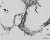 Minimal custom family portrait, original portrait, close up portrait, pencil, from your photo