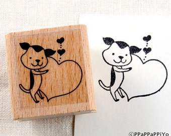 50% OFF SALE Dog And Love message Rubber Stamp