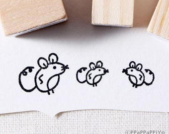 The mouse family Rubber Stamp set