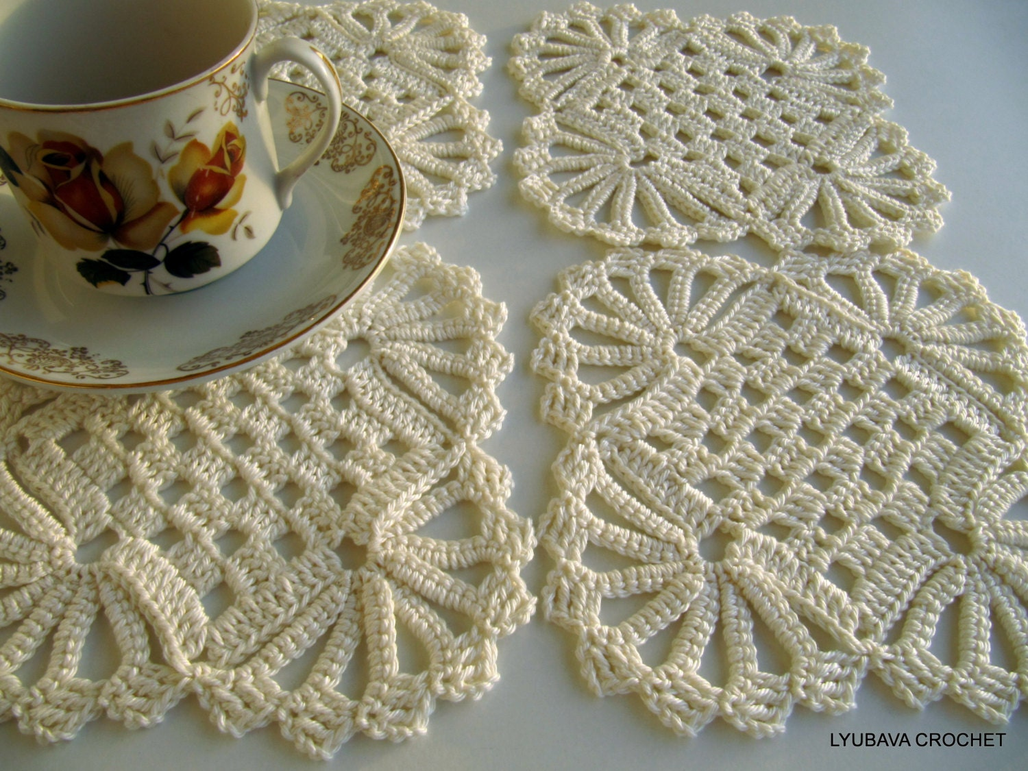 Crochet Patterns Coasters : CROCHET PATTERN Crochet Coasters Shabby Chic by LyubavaCrochet