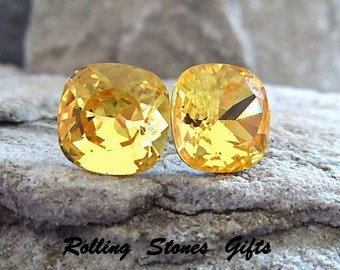12mm Light Topaz Swarovski Rounded Corner Sqaure Rhinestone Stud Earrings-Large Yellow Crystal Studs-Large Yellow Crystal Stud Earrings