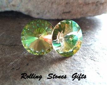 10.5mm Luminous Green Swarovski Rivoli Rhinestone Stud Earrings-Luminous Green Swarovski Crystal Studs-Color Changing Swarovski Earrings