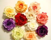 Large Rose Hair Clip, Realistic, Real Touch, Wedding, Bride, White, Ivory, Red, Pink, Purple, Yellow, Coral, Blush, Green, Spring, Roses