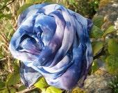 Blue Rose Hand Painted Chiffon Silk Scarf Long Herringbone Blue Midnight and Purple Shibori Boho Chic