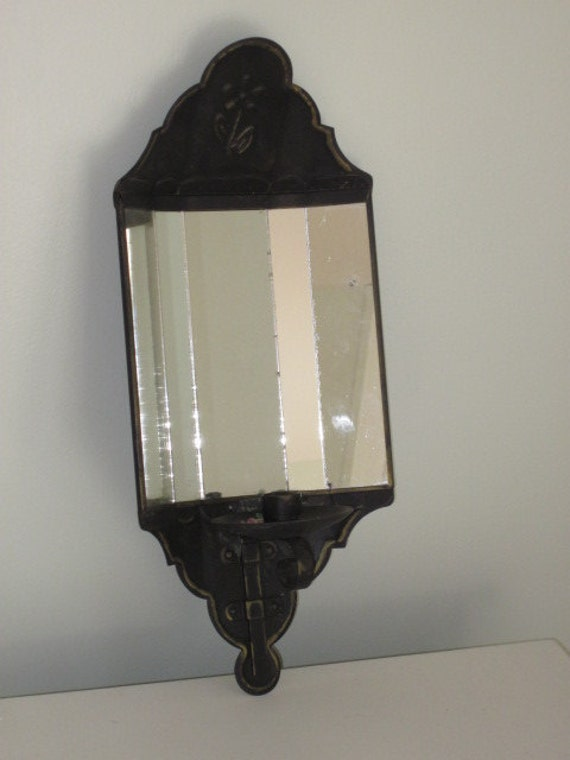 Vintage Black Metal Mirrored Wall Candle Sconce