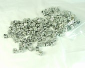 Alphabet Cube Beads Silver Black Letters Square Letter Beads 200 pieces 6mm by 6mm Side Drill Craft Supply letter beads