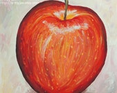 Original Realistic Apple Painting Kitchen Art Home Decor Acrylic
