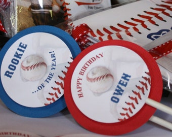 BASEBALL Cupcake Toppers, Baseball Birthday Party Decor, Sports Decorations, Boy Birthday, Cupcake Picks, Red White Blue, Rookie of the Year