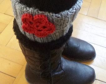 Knit boot cuffs, Women legwarmers, Knit leggings, Grey boot cuffs, Boot socks, Leg warmers, Women accessories, Gift Women