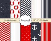 Digital Paper Pack: Bon Voyage - Nautical Scrapbook Paper, Design Pattern and Background - INSTANT DOWNLOAD