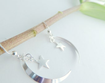 Moon and Stars Sterling Silver Jewelry Earrings, Dangle Earrings, Jewelry, Star Earrings, Mothers Day, Silver Jewelry.