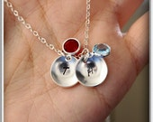 Initial charm necklace in sterling silver, double domed disc, birthstone, personalized hand stamped