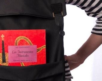 Black Laptop Backpack,  Big Black Backpack, Black Men Backpack, Vegan Backpack, Fabric Backpack, Large School Backpack, Black Collage Bag