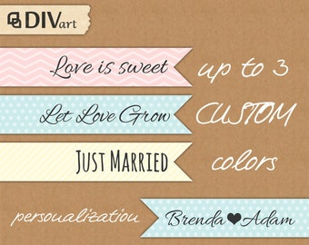 """PRINTABLE 5x0.5"""" Wedding Straw Flags, Party Flags, Cupcake Toppers - personalized - custom color - chevron, stripes, dots - 256"""