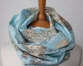 Unisex Loop/ Scarf/ map of the world/ blue/ grey - All around the world