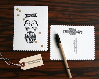 Set of 2 Handmade Postcard (Blank) Congrats Lovebirds Ever After Gold Glitter Confetti