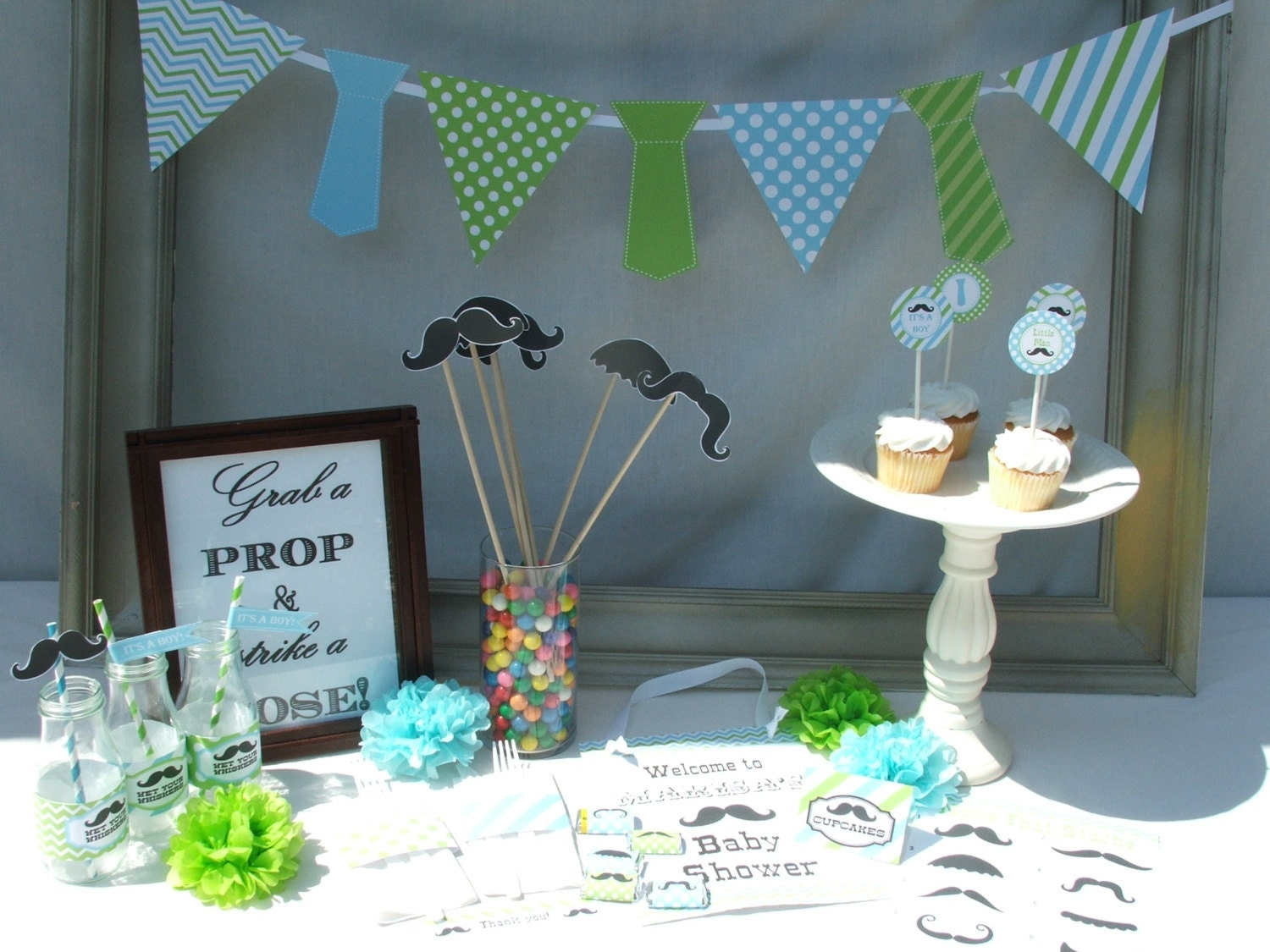 Boy baby shower decorations mustache little man blue green for Baby shop decoration ideas
