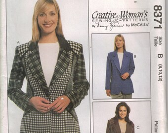 McCall's Sewing Pattern 8371 - Misses'  Lined Jacket (8-12)