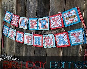 Sock Monkey Birthday Banner