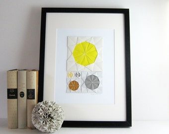 Origami Sketch No6 Yellow - Original Paper Collage - Modern Home Decor Grey Modern Art Geometric Circles Paper Anniversary - Minimalist Art