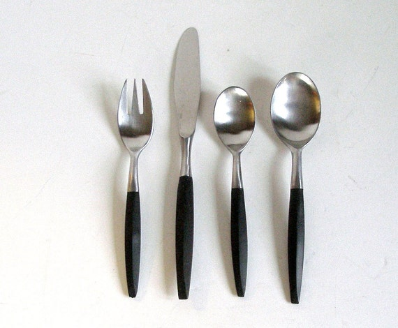 47 pcs viking flatware stainless and black mid century forged - Danish modern flatware ...