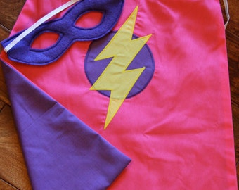Super Hero Cape and Mask Set for Girls -  Toddler cape - Around the arms cape - Kids cape - Pink and Purple cape - size 18m-3T