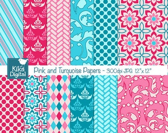 SALE Pink and Turquoise Digital Papers - Scrapbooking, card design, invitations, background, paper crafts, web design - INSTANT DOWNLOAD