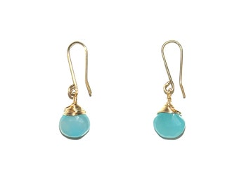 Short Wire Chalcedony Drop of the Rainbow Earrings in 18 K Gold Overlay