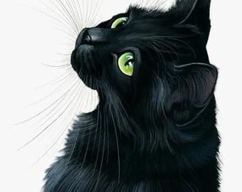 Black Cat Print Emerald Eyes by Irina Garmashova