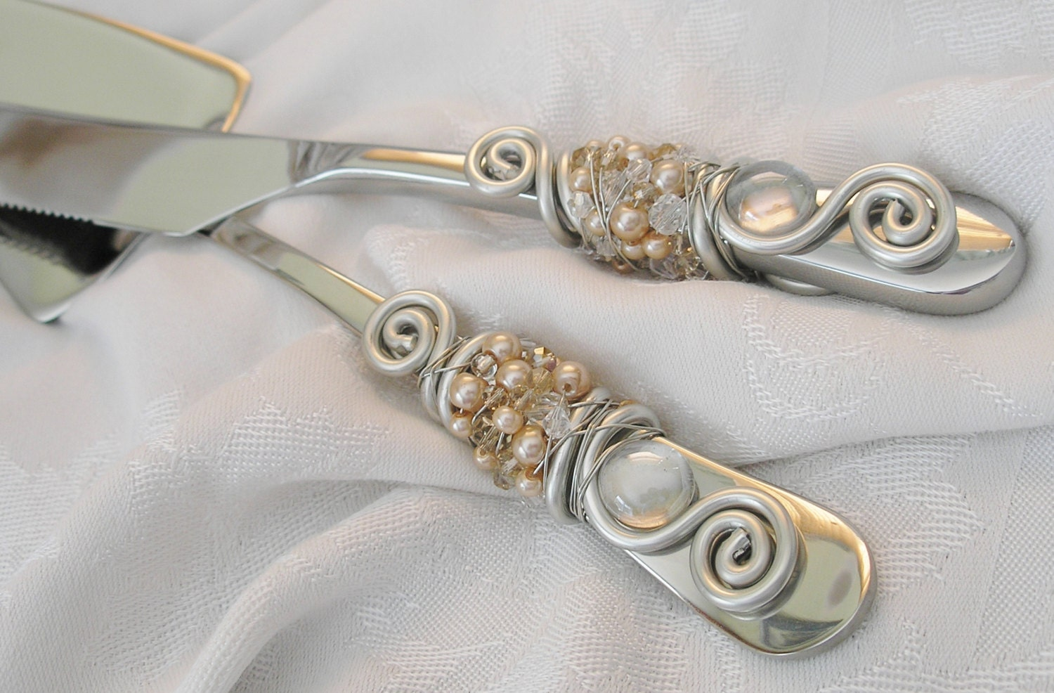 Beaded Wedding Cake Knife And Server Serving By JuliesPracticalArt