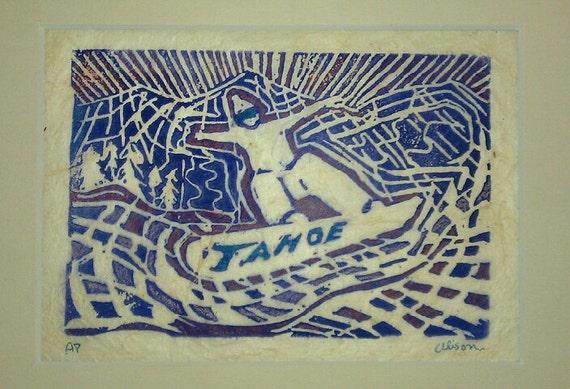 Tahoe  snowbarder 8 x 10 matted print