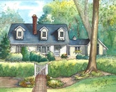 Custom House Painting - Your home painted in watercolor with ink detailing - Unique gift - Commissioned art
