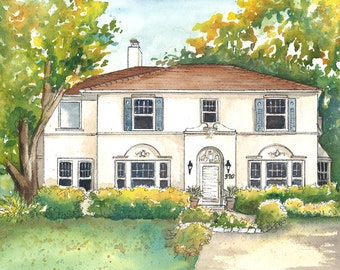Personalized House Portraits  Your home painted in watercolor with ink detailing Custom home portrait Artist rendering of your house