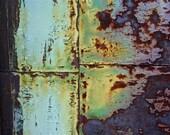 Abstract Fine Art Photography Industrial Rust Orange Purple Blue Green Aqua and Iron 24x36
