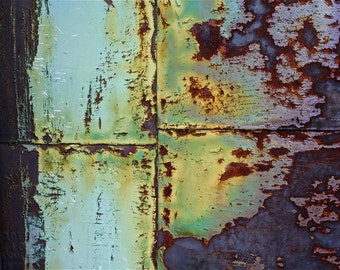 Abstract Fine Art Photography Industrial Rust Orange Purple Blue Green Aqua and Iron 24x36