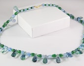 Beaded Necklace in Green and Blue