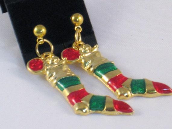 Dangle Earrings with Christmas Stocking