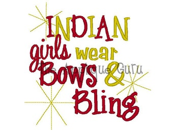 Indian Girls Wear Bows and Bling -- Machine Embroidery Design