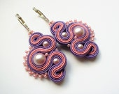 LILAC -  soutache earrings, handmade, embroidered in pink and violet satin strips, TOHO, oaak gift for her under 50