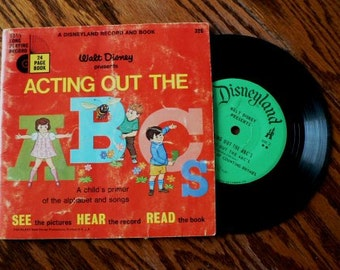 vintage Tunes ... Walt Disney ACTING Out the ABCs Book and 45 RECORD  ...