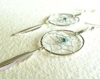 Dream Catcher Earrings - Custom Order Colour Bead Choice - Free Shipping