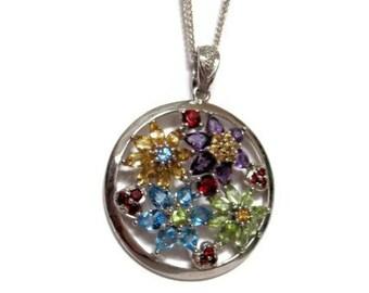 Topaz Citrine Peridot Amethyst Garnet Sterling Silver Necklace