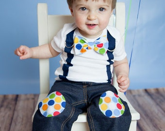 Baby Boy Bow tie and Suspender Bodysuit - Birthday Photo Prop, Little Man, Boys First Birthday, Circus Party, Polka Dot, 1st Birthday